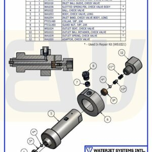 CHECK VALVE ASSEMBLY BALL IN/OUT NITROCISION WS50 WSI