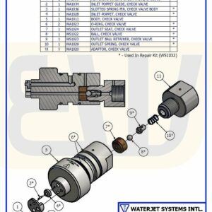 CHECK VALVE ASSY FLAT IN / BALL OUT WS50 WSI