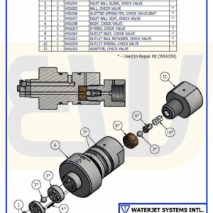 CHECK VALVE ASSY BALL-SEAT IN/BALL OUT E50 WSI