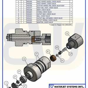 CHECK VALVE ASSY FLAT-SEAT IN/BALL OUT WS50 WSI