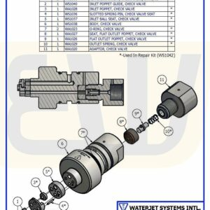 CHECK VALVE ASSY FLAT-SEAT IN/FLAT OUT WS100 WSI