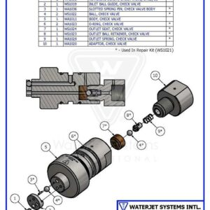 CHECK VALVE ASSY BALL IN / BALL OUT WS100 WSI